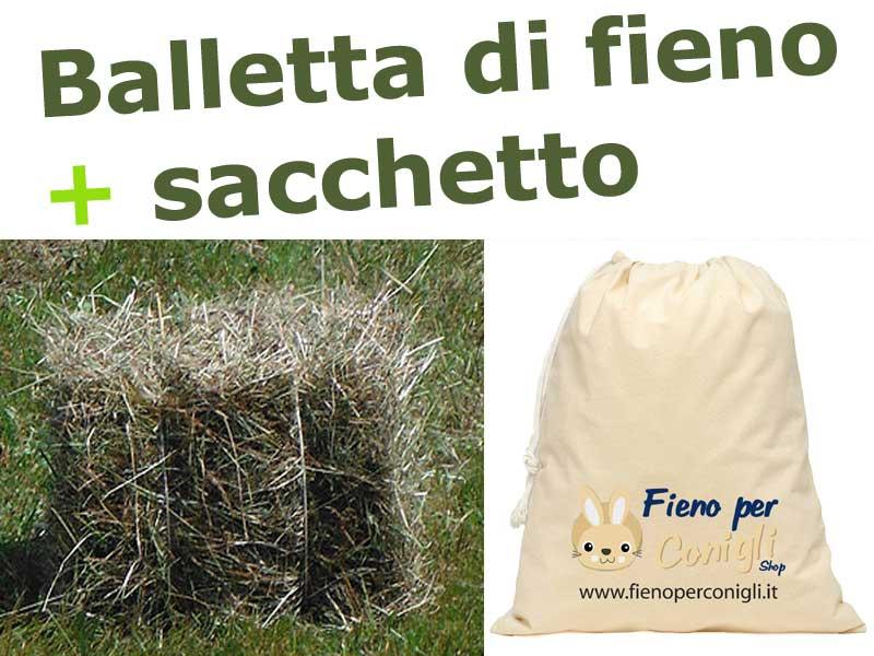 Fieno di Montagna per Conigli Alta Qualita' del Trentino - balletta da 15kg + SACCHETTO PORTA FIENO